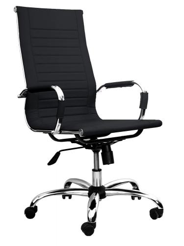 Кресло офисное Вернер хром, экокожа, цвет: черный (BELS, Беларусь) 445398/PU01